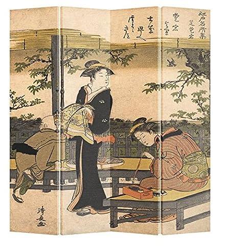 Fine Asianliving séparateur de pièce Paravent pliable écran japonais Femme calligraphie 4panneaux (180x 160cm) meubles Home Decor Imprimé sur toile écrans recto verso bilatéral Oriental asiatique chinois Style japonais (sur toile)