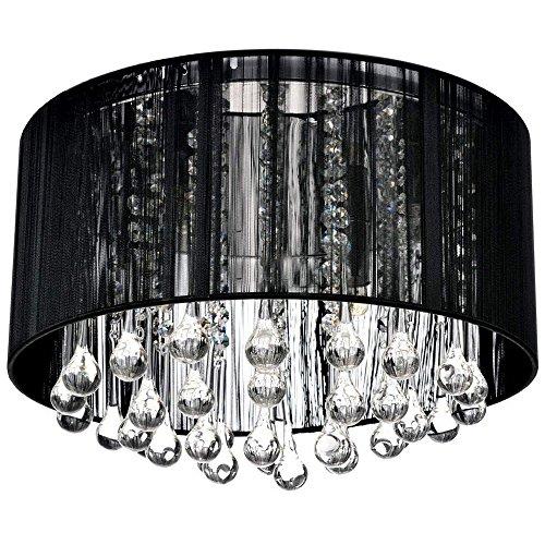 Runde Deckenleuchte / Deckenlampe LED Modernes Design: Stoff, Crystal-Leuchte - 4 x E14 Sockel (Schwarz) (Runde Sockel-esstisch Schwarze)