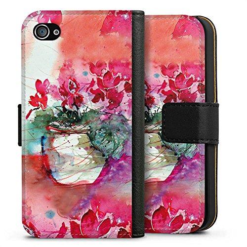 Apple iPhone X Silikon Hülle Case Schutzhülle Gemälde Rosen Blumen Sideflip Tasche schwarz