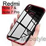mobistyle Luxury Electroplating Soft Silicon Transparent TPU Back Cover for Redmi Note 7 (Red)
