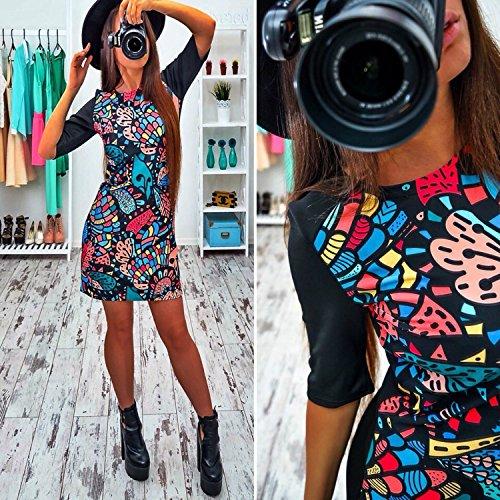 Minetom Femme Mini Robe de Plage Party Casual Manche Courte Impression de Fleurs Robe D'été A04