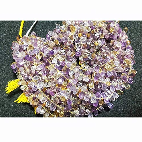 ONE 1 Strand Natural Ametrine Beads, Faceted Beads, Tear Drop Beads, 5x10mm Each - 7.5 Inch Code-RR-19071 ()