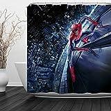 """BACCESSOR Rideau de Douche en Tissu décoratif de Salle de Bain avec Crochets, Tissu antibactérien, imperméable, résistant à la moisissure, Crochets Inclus 60"""" W x 72"""" H Spider Man..."""