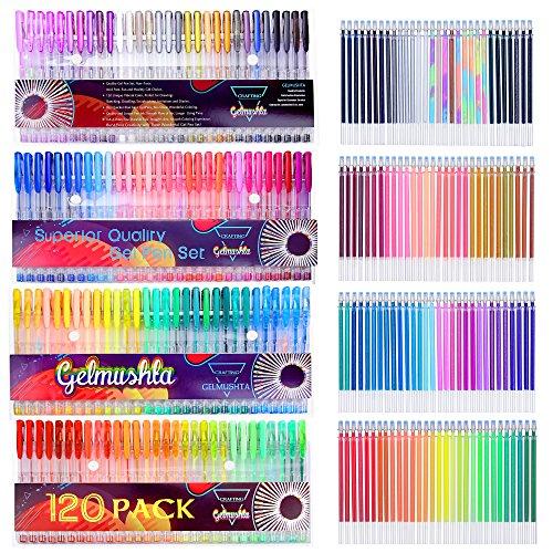 Gelmushta 240 Penne Gel Colorate con un Set da Regalo per Disegno Adulto (120 Penne Gel e 120 ricariche