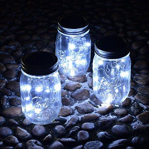 VCHENG 3 Stück Solar Gläser Deckel Licht, LED-Licht Mason Jar Deckel Insert LED String Fairy Lichter für Standard Einmachglas Gläser (Weiß) - 4