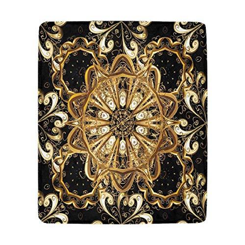 Mesllings Fleecedecke, Vintage-Muster, Schwarz/Golden Elements, weich, Mikrofaser, 127 x 152 cm Vintage-olive Wood