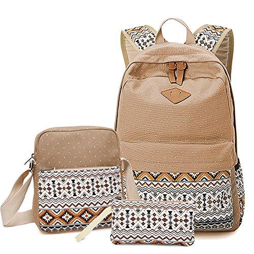 O&N Maedchen Rucksack 3 Teile Set Fashion Damen leichtes canvas Rucksack/Umhangetasche/Handtasche Schule Freizeit Laptop Rucksack Khaki