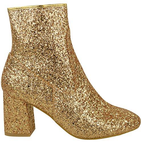 donna paillettes doppio tacco basso Stivali Caviglia Chelsea Party Scarpe Numeri Glitter Oro