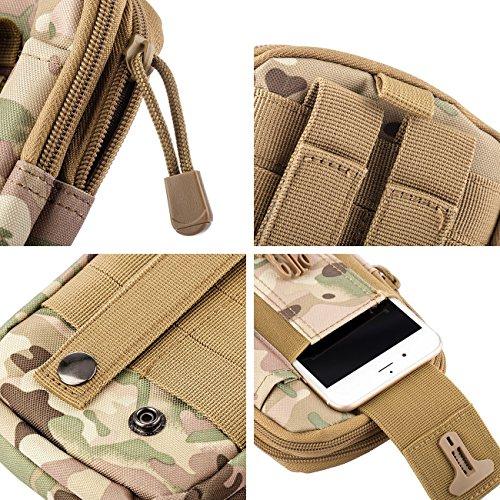 Molle Pouch Tattico Marsupio Militare Borselli da Cintura con Moschettone in Alluminio Gratis per Campeggio Outdoor Sports (Verde) Camo