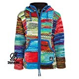 SHAKALOHA LIFE IS FOR LIVING Patchwork Strickjacke Wolljacke mit Kapuze - W Patch NH Vintage für Damen - im fairen Wettbewerb in Nepal hergestellte Wolljacke mit fleecegefütterter Kapuze - XL