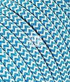 Textilkabel Stoffkabel SuperFlex türkis weiß zickzack zum bau dekorativer Textilkabellampen, Pendelleuchten, Hängelampen Stoffkabel (3 Meter 2 Adrig)