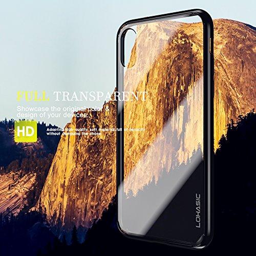 Coque iPhone X, Transparent Ultra Mince Hybride Case Rigide Défenseur arrière [TPU+PC] 360 Anti-choc Anti-rayures Anti-dérapante Souple Flexible leger Housse Bumper Cover Pour Applie iPhone X - Clair Noir