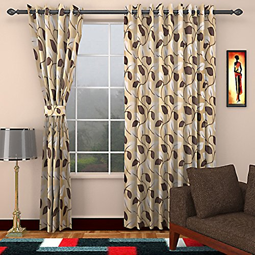 SEVEN STARS 1 Piece Polyester Floral Door Curtain - 7 ft, Cream