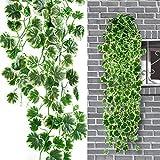 Zhangming Guirlande lierre 90CM guirlande artificielle jante blanche Begonia/Feuillage Artificiel/Plantes Artificielles (Begonia Chlorophytum)