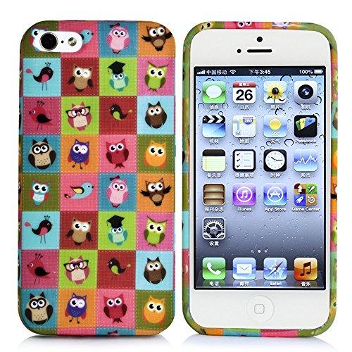 "Apple iPhone 5 / 5s ""kleine Fee"" Case Schutzhülle / Handyhülle Farbe : Gold Eulenmuster"