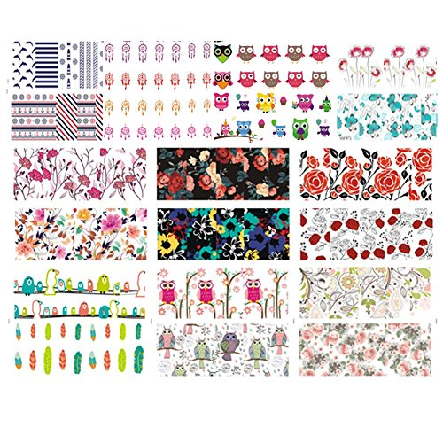 Born Pretty Lot De 10 Planches Water Decals Fleurs Hiboux Attrape-rêves Décorations Ongles Nail Art Manucure BPW01-W10