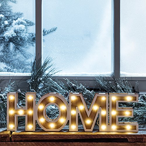 Lights4fun Mot Décoratif « Home » Lumineux LED en Bois à Piles