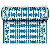 Papstar 24 m x 40 cm Tischläufer  Stoffähnlich, Airlaid Bayrisch Blau auf Rolle, Tischdecke Raute Oktoberfest -