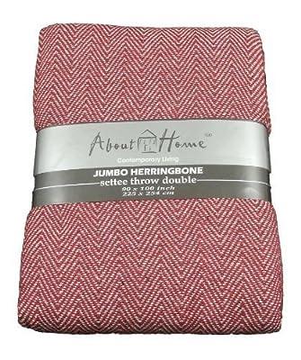 100% Cotton Herringbone Design 3 Seater Sofa Bed Settee Throw 225cm x 250cm - Red