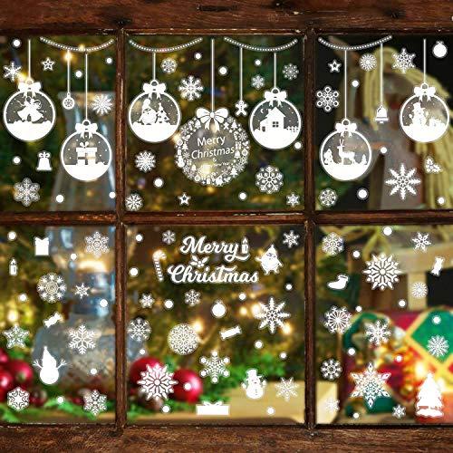 WATINC 361+ Schneeflocken Fensteraufkleber Set Weihnachts Fensterbilder Schneemann Fensterdeko Sterne Decals Winter Dekoration Traceless Window Clings DIY Home Sticker für Glasaufkleber Schaufenster -