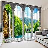 Waple 3D-Vorhänge Stereoskopische Wasserfall Landschaft Fenster Vorhang Wohnzimmer Hochzeit Dekoration Fenster Vorhang  260X260CM