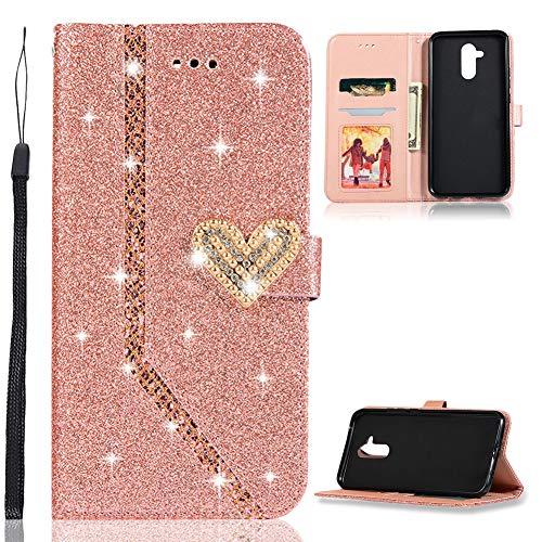 ZCXG Glitzer Handyhülle für Huawei Mate 20 Lite Hülle Leder Rose Gold Glitzer Flip Dünn Tasche mit Diamant Schnalle Magnet Kartenfach Brieftasche Mädchen Hülle Silikon Schwarz Innere Klappbar