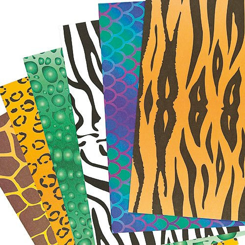 Baker Ross Animal Print A4 Paper Sheets (Pack of 40, 100 gsm) For Crafting Activities and Decoration Making