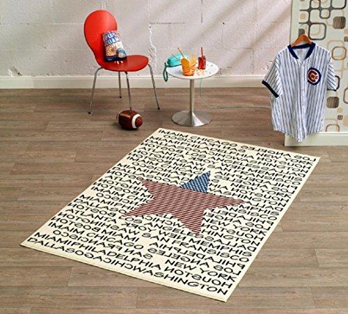 Designer Teppich Wohnteppich Teppich moderner Wohnzimmer Teppich Wohnzimmerteppich Läufer Stern - Sternteppich - Amerika - USA - Stars and Strips / mit außergewöhnlichem Design macht das Betreten zum reinen Vergnügen ein echter Blickfang 140 x 200 cm