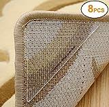 Yesreal, Antirutschsystem für Teppich, wiederverwendbare Gummipolster und starkes doppelseitiges Teppich-Klebeband, jeweils 4 Stück, farblos, 8 Stück