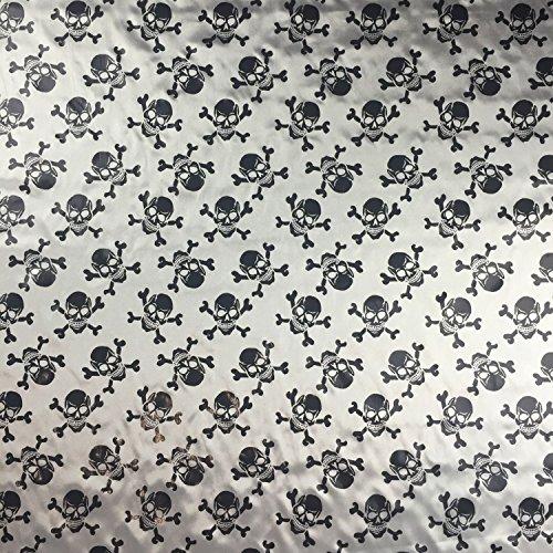 Silber/Schwarz Halloween Metallic Seidiger Satin Skull & Bones Kleid Craft Stoff gedruckt 147,3cm 147cm Breite–Meterware (Metallic-patchwork-tasche)