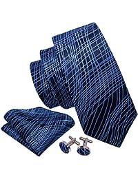 Wang pour homme liens Pochette carrée Boutons de manchette Cravate Ensemble  de Sherman Designer - Bleu… fd8a2d77b7e