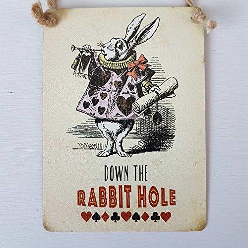 Down the Rabbit Loch Mini Metall Schild weiß Kaninchen (Zeichen Von Alice Im Wunderland)
