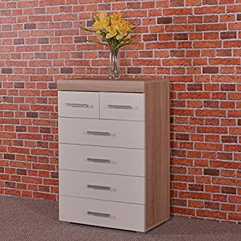 DRP Trading White & Sonoma Oak 4+2 Drawer Chest & 3 Draw Bedside Cabinet Bedroom Furniture 6 Draw