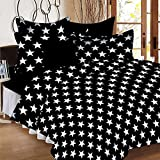#8: SheetKart Stars Printed Traditional 144 TC Cotton Double Bedsheet with 2 Pillow Covers - Abstract, Superior Black