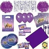 Traumpferdchen Pferde Horses Party-Set 97tlg. für 6 Kids Teller Becher Servietten Tischdecke Einladung Tüten Luftballons Besteck Pom-Poms Spiralen