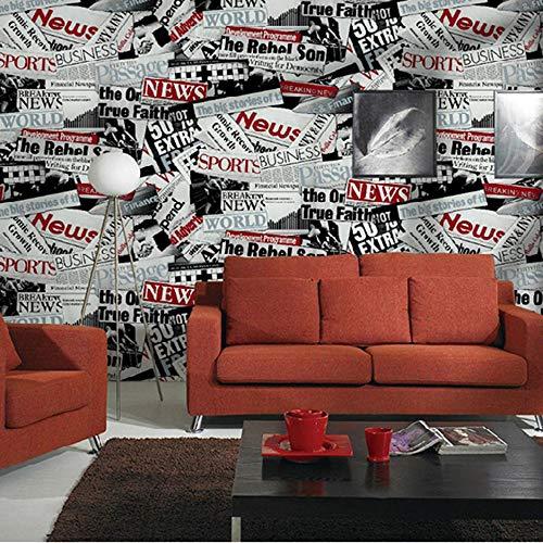 LVLUOYE Tapete, PVC Material Comic-Zeitung Poster Thema Restaurant Internet Café Englisch Alphabet Kleidung Store Studio Wand Rolle 10 * 0,53 m