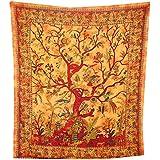Tagesdecke Lebensbaum orange 235x205cm bunte Vögel Blumen indische Decke Baumwolle Tie Dye Style