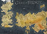 Game of Thrones, Mappa antica, Continente Occidentale e Continente Orientale, poster metallico,, 50 x 70 cm