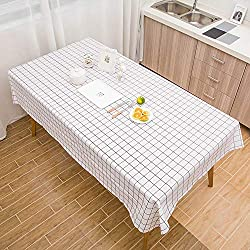 Alaso Nappes,Linge de Table, Nappe en Toile cirée Moderne en PVC Facile à Nettoyer Motif de Plaid Nappe de Table Maison Restaurant Rectangulaire Tableau Tissu(Blanc,One Size)