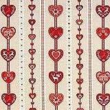 Fabulous Fabrics Weihnachtsstoff rotes Herzmuster – beige — Meterware ab 0,5m — Oeko-Tex Standard 100 — zum Nähen von Outdoor-Deko, Tischdekorationen und Kissen und Tagesdecken