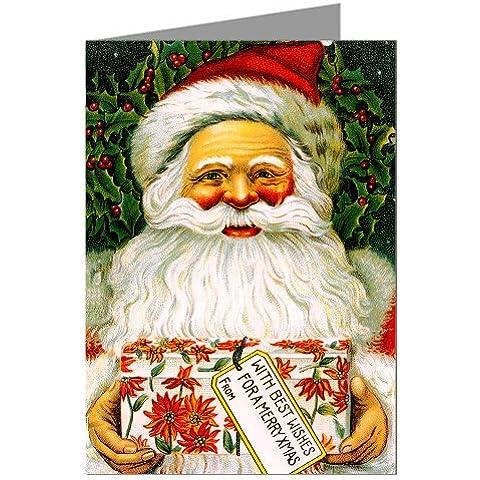 Tradizionale vino lettura con Babbo Natale e le migliori desideri una vacanza nota di box-set