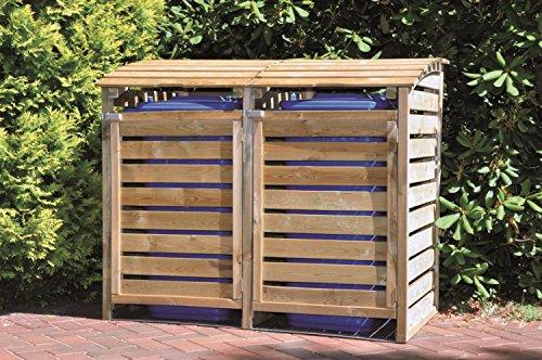 *Mülltonnen-Box Mülltonnenverkleidung für 2 Tonnen inkl. Rückwand*