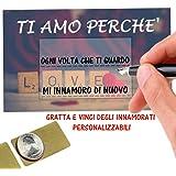 """Gratta E Vinci Personalizzato Degli Innamorati Horus Creations - 6 Biglietti """"Ti Amo Perché"""" Personalizzabili Per Fare Una So"""