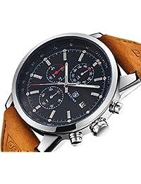 Montre chronographe homme avec luxe imperméable à l'eau d'affaires analogiques quartz cadran noir montre bracelet pour hommes cuir bande marron