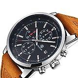 BENYAR Herren Uhr Chronograph Analogue Quartz Wasserdicht Business Schwarz Zifferblatt Armbanduhr mit Braun Leder Armband