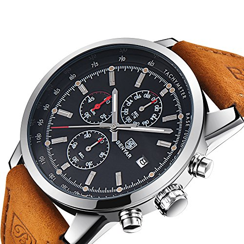 BENYAR Mode Men es Quartz Chronograph wasserdicht Uhren Business Casual Sport Design braun Lederarmband Armbanduhr (Silver Back)