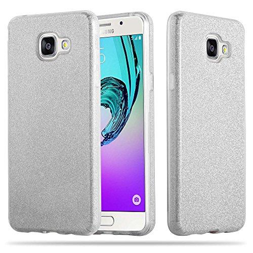 Cadorabo Hülle für Samsung Galaxy A3 2017 (7) - Hülle in Sternenstaub Silber - TPU Silikon und Hardcase Handyhülle im Glitzer Design - Hard Case TPU Silikon Schutzhülle Hard Silikon
