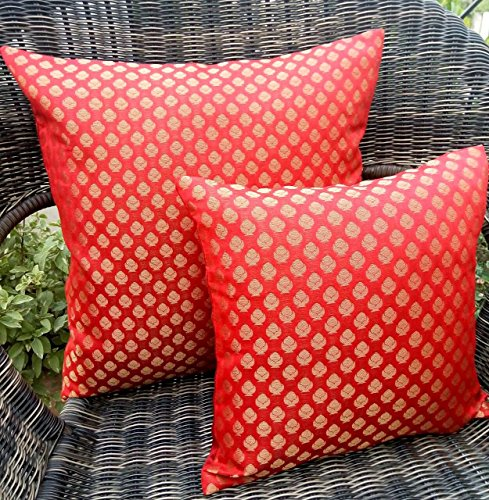Premium Quality 'RAINBOW RED & GOLDEN' Brocade Cushion Covers (Set of 5) (12