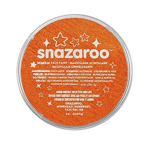 Snazaroo 1118531 Kinderschminke, hautfreundliche hypoallergene Gesichtschminke auf Wasserbasis, wasservermalbar, parabenfrei, schimmernd Orange, 18 ml Topf