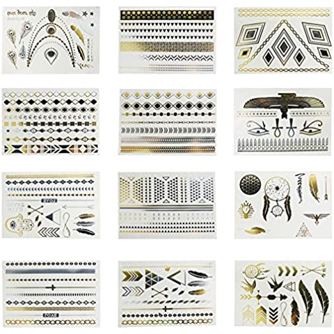 JYP 12 Sheets Fashionable Gold Silver Metallic Removable Waterproof Bling Egypt Temporary Flash Tattoos Body Art Sticker DIY (Jewelry Necklaces Rings Feathers Arrows Eyes Wings Spears Totems) by JYP
